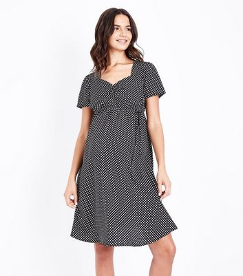 Maternity Black Polka Dot Sweetheart Neck Dress
