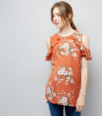 Maternity Orange Floral Frill Cold Shoulder Top