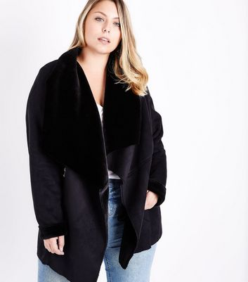 Curves Black Suedette Faux Fur Lined Waterfall Jacket
