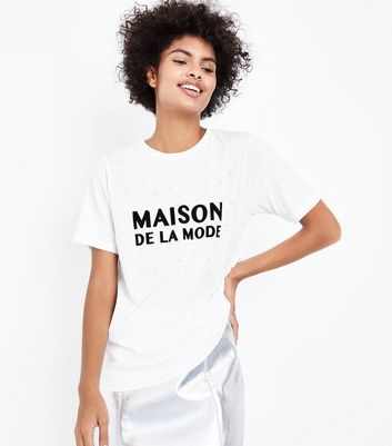 Cream Maison De La Mode Slogan Pearl Embellished T-Shirt