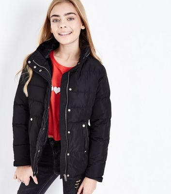 Teens Black Funnel Neck Puffer Jacket