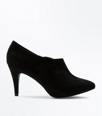 Wide Fit Black Suedette Heeled Shoe Boot