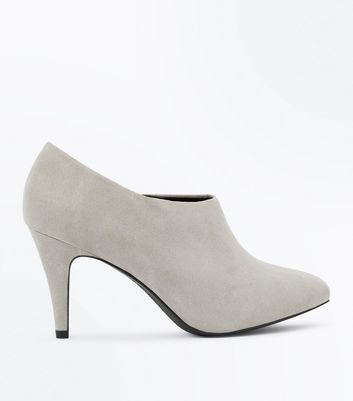 Wide Fit Grey Suedette Heeled Shoe Boots