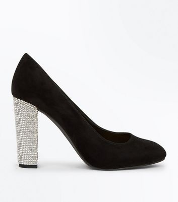 Wide Fit Black Suedette Embellished Heel Courts