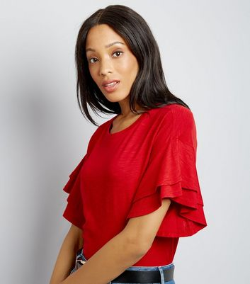 Red Double Frill Sleeve T-Shirt