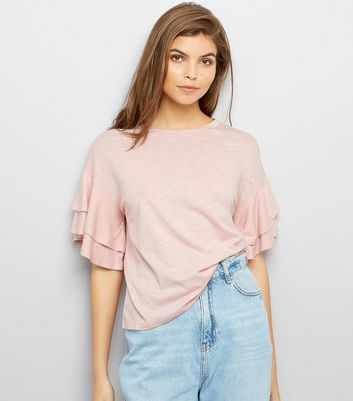 Pink Double Frill Sleeve T-Shirt