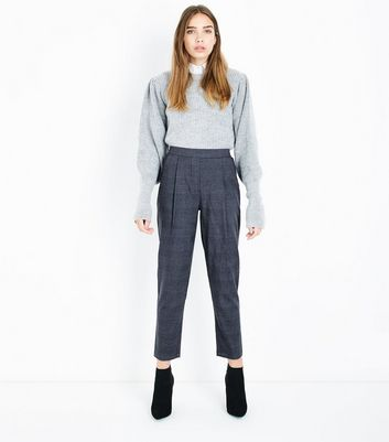 Grey Check High Waist Tapered Trousers