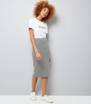 Grey Houndstooth Jersey Pencil Skirt