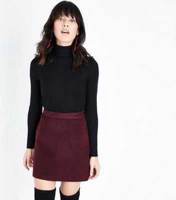 Burgundy Brushed Mini Skirt