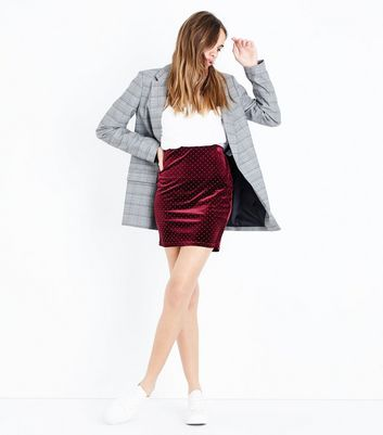 Burgundy Studded Velvet Mini Skirt