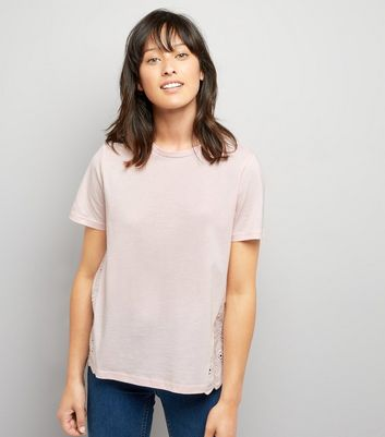 Pink Woven Cut Out Embroidered Back T-Shirt