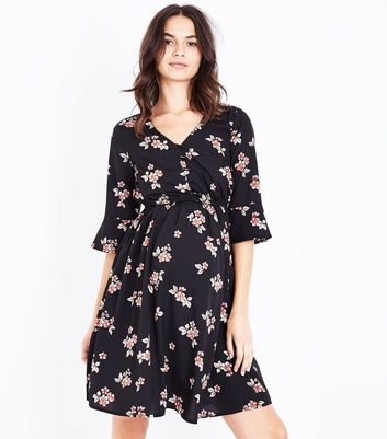 Maternity Black Floral Button Front Dress