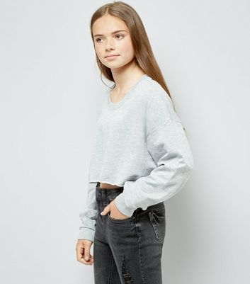 Teens Grey Cropped Sweater