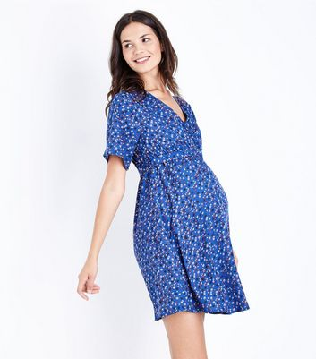 Maternity Blue Floral Wrap Front Dress