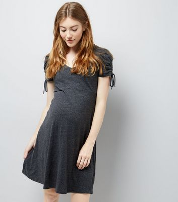 Maternity Grey Marl Ruched Tie Sleeve Dress