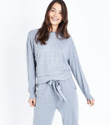 Grey Brushed Jersey Tie Back Pyjama Sweatshirt