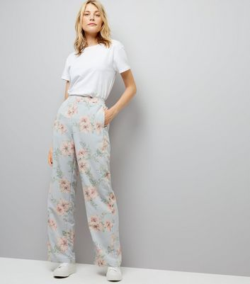 Tall Pale Blue Floral Print Wide Leg Trousers