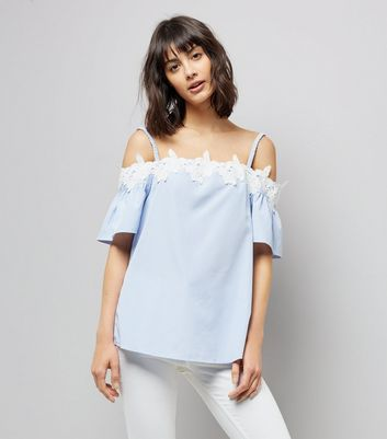 Tall Blue Stripe Crochet Trim Cold Shoulder Top