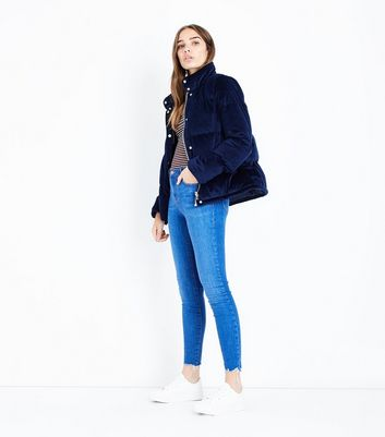Bright Blue Frayed Hem Skinny Shaper Jeans
