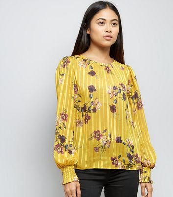 Petite Yellow Satin Floral Print Top