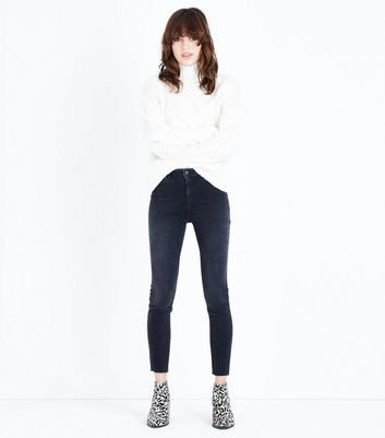 Black Raw Hem Skinny Shaper Jeans