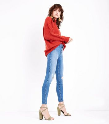 Blue Ripped Knee Raw Hem Skinny Shaper Jeans