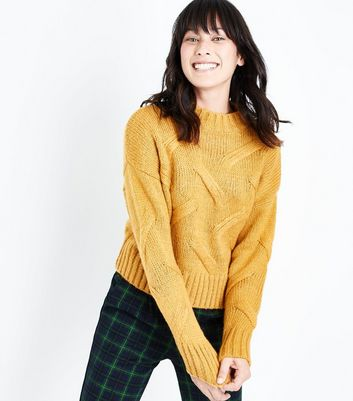Mustard Yellow High Neck Cable Knit Jumper