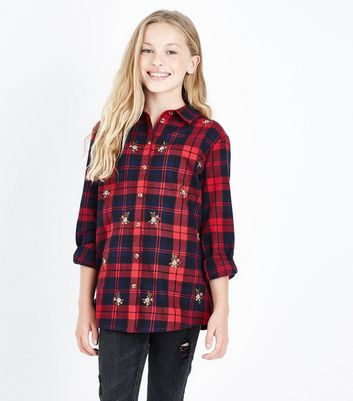 Teens Red Check Floral Embroidered Shirt