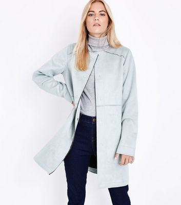 Pale Blue Suedette Collarless Longline Jacket