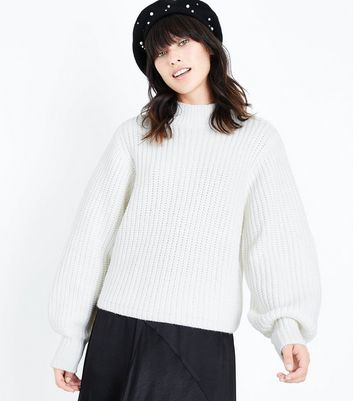 Off White Chunky Knit Balloon Sleeve Jumper