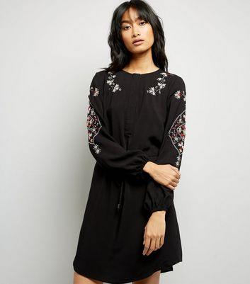 Black Cross Stitch Embroidered Shirt Dress