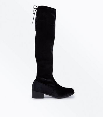 Teens Black Velvet Over The Knee Boots