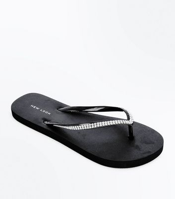 Black Diamante Embellished Flip Flops