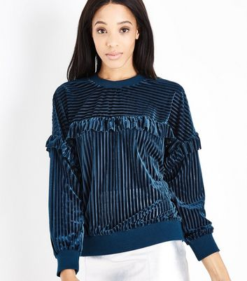 Blue Vanilla Teal Frill Trim Striped Jumper