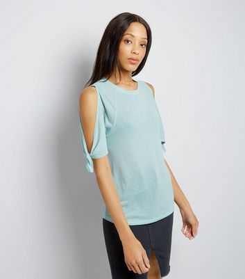 Mint Green Tie Cold Shoulder T-Shirt