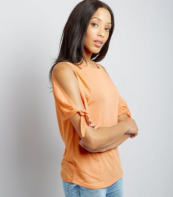Orange Tie Cold Shoulder T-Shirt