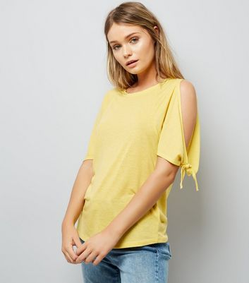Yellow Tie Cold Shoulder T-Shirt