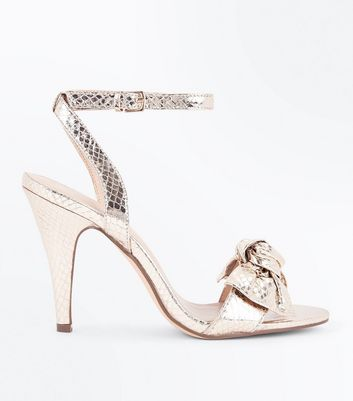 Wide Fit Gold Faux Snakeskin Bow Front Cone Heels