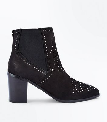 Black Leather Stud Block Heel Boots