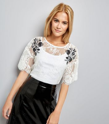 Cream Floral Embroidered Lace T-Shirt