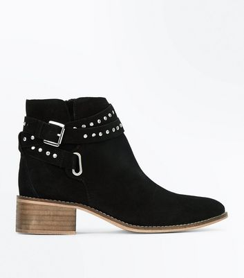 Wide Fit Black Suede Stud Strap Boots