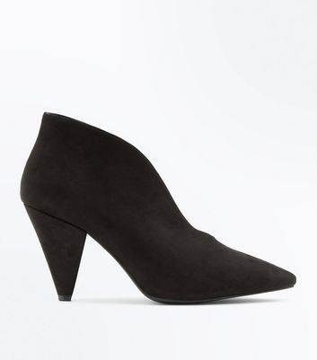 Wide Fit Black Suedette V Front Shoe Boot