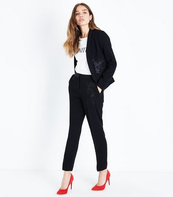 Black Rose Embroidered Tux Trousers