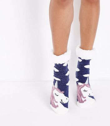Navy Unicorn Faux Fur Trim Slipper Socks