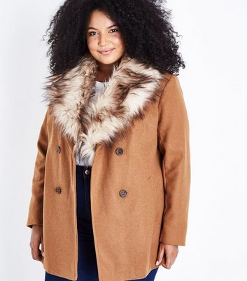 Curves Tan Faux Fur Collar Double Breasted Coat