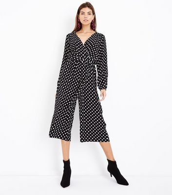 Black Polka Dot Wrap Front Jumpsuit