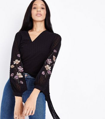 Black Floral Embroidered Spot Chiffon Wrap Top