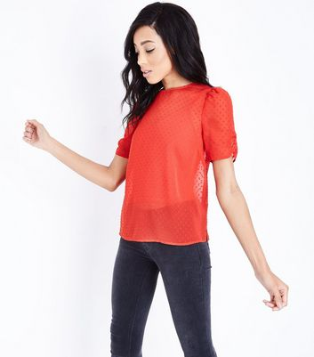 Red Spot Chiffon Ruched Sleeve Top