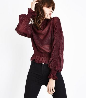 Burgundy Metallic Shirred Sleeve Blouse