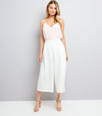Apricot Cream Crepe High Waist Culottes